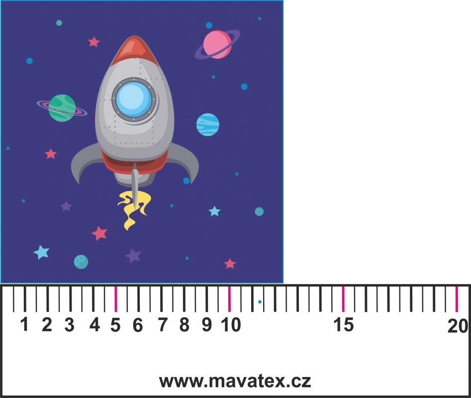 Panelový tisk - vesmírná loď modrá- tisk obrázků, obrázky na látce Tukan