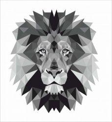 Lev černo-bílý - satén