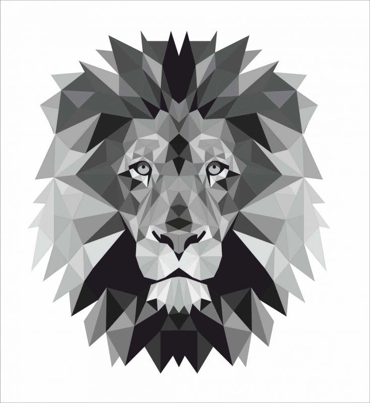 Lev černo-bílý - satén - obrázky na látce, designový tisk, tisk na přání Tukan