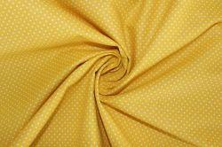 Žlutá bavlna s malými bílými puntíky- 2 jakost