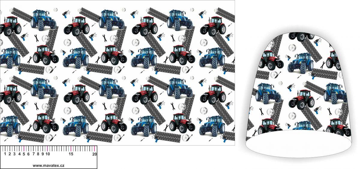 Panel na čepice SKEJŤAČKA - modré a červené traktory na bílé- my craft aplikace k našití Mavatex