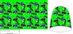 Panel na čepice SKEJŤAČKA - modré a červené traktory na zelené