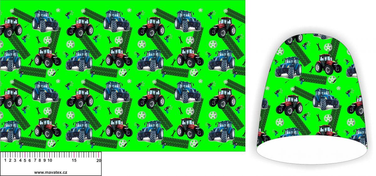Panel na čepice SKEJŤAČKA - modré a červené traktory na zelené- my craft aplikace k našití Mavatex
