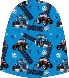Panel na čepice SKEJŤAČKA - modré a červené traktory na modré