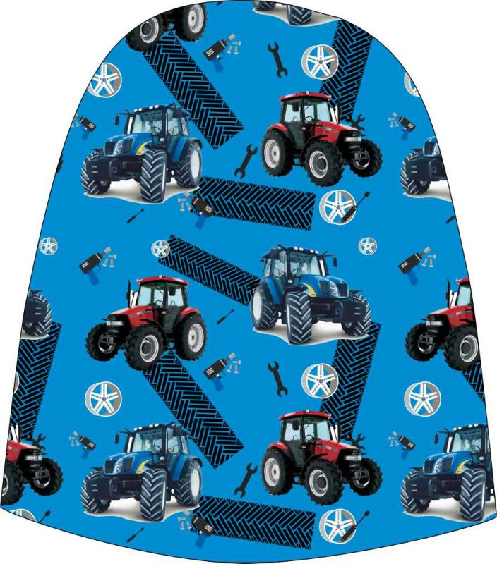Panel na čepice SKEJŤAČKA - modré a červené traktory na modré- my craft aplikace k našití Mavatex
