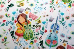 Teplákovina světlá holčička s basou– digitál- výplněk, teplákovina holčičky vyrobeno v EU