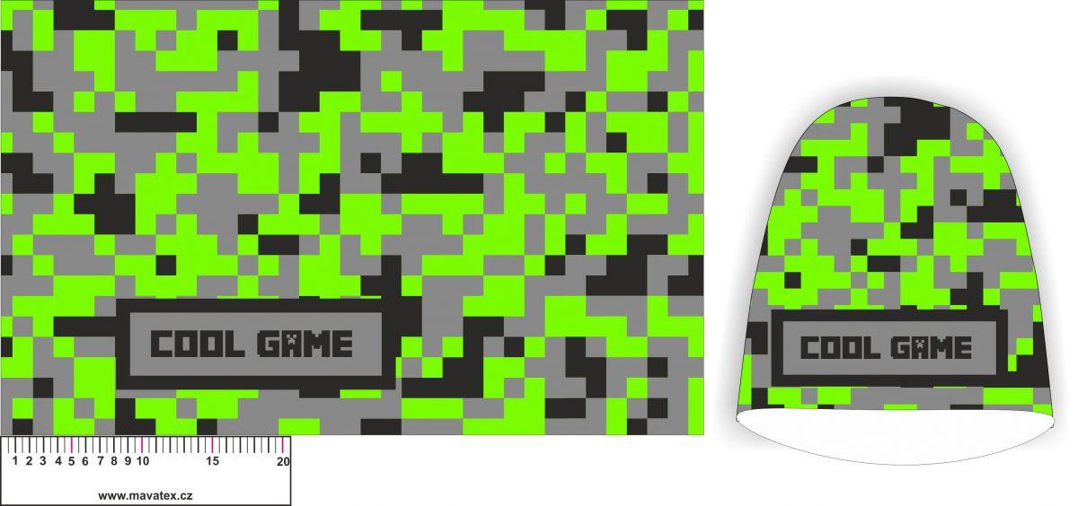 Panel na čepice SKEJŤAČKA - cool game zelená - my craft aplikace k našití Mavatex