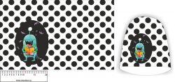 Panel na čepice SKEJŤAČKA - bílá s puntíky + příšerka