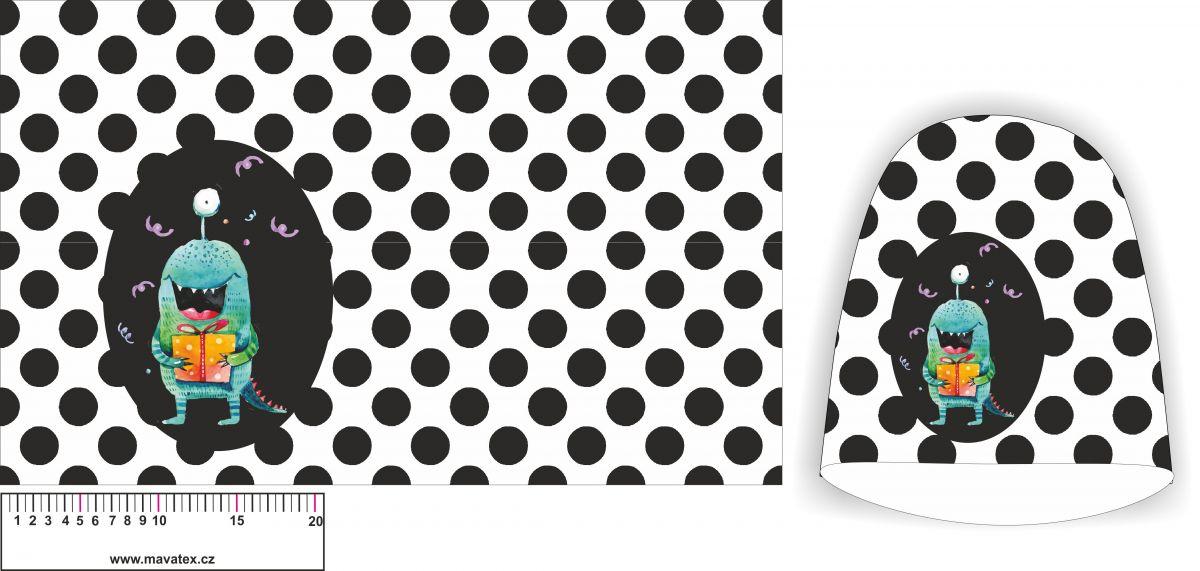 Panel na čepice SKEJŤAČKA - bílá s puntíky + příšerka- my craft aplikace k našití Mavatex