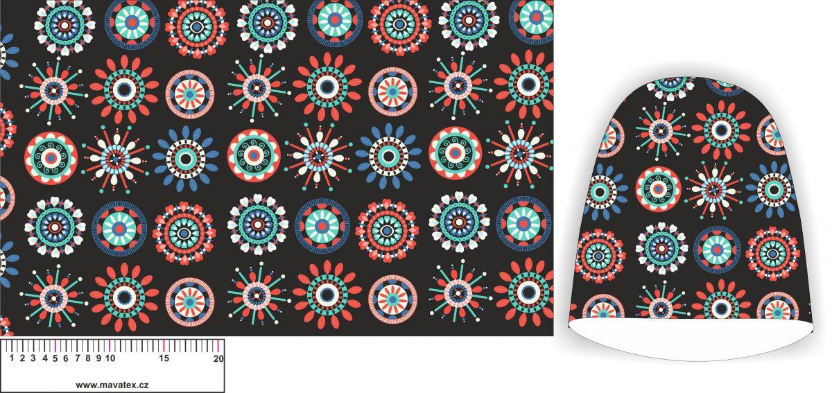 Panel na čepice SKEJŤAČKA - mandalky na černé- my craft aplikace k našití Mavatex