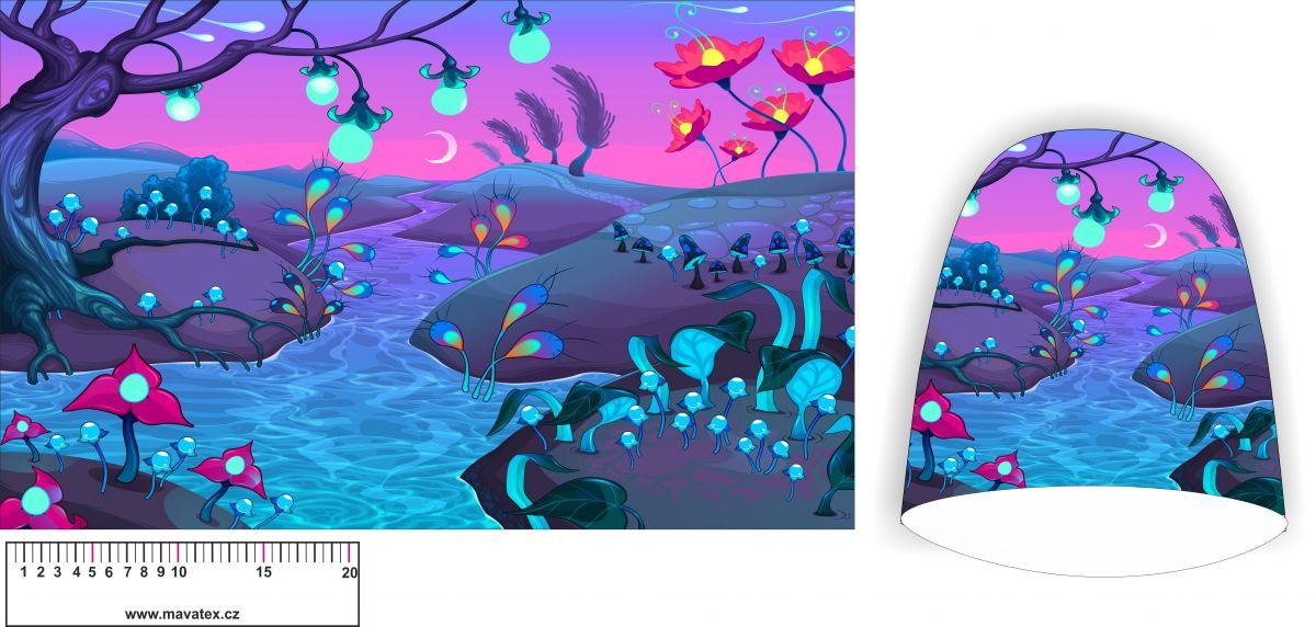 Panel na čepice SKEJŤAČKA - modrá bažina- my craft aplikace k našití Mavatex