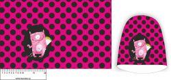 Panel na čepice SKEJŤAČKA - růžová s puntíky + příšerka