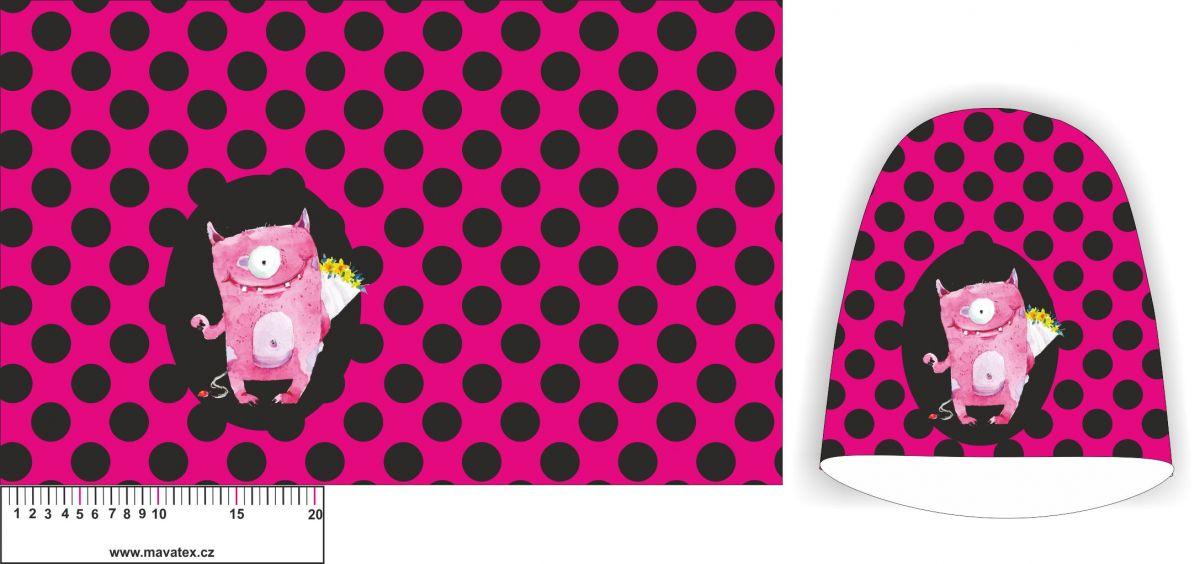 Panel na čepice SKEJŤAČKA - růžová s puntíky + příšerka- my craft aplikace k našití Mavatex