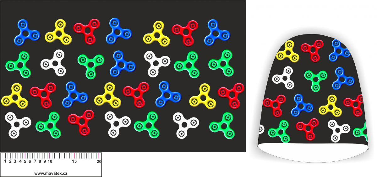 Panel na čepice SKEJŤAČKA - spinery na černé- my craft aplikace k našití Mavatex