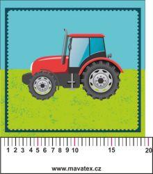 Traktor zelený kreslený- aplikace k našití - kepr
