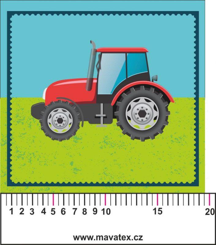 Traktor zelený kreslený- aplikace k našití - kepr Tukan