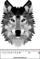 Vlk ČERNOBÍLÝ- aplikace k našití-satén