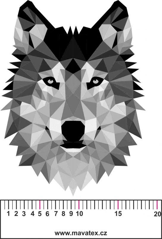 Vlk ČERNOBÍLÝ- aplikace k našití-satén- aplikace k našití Tukan