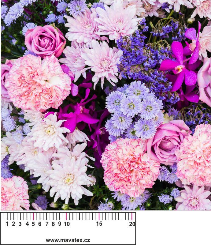 Panelový tisk - fialové květy- kepr- panelový tisk, tisk obrázků, obrázky na látce, designový tisk, tisk na přání Tukan