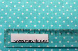 Aqua bavlna s malými bílými puntíky vyrobeno v EU- atest pro děti bavlna