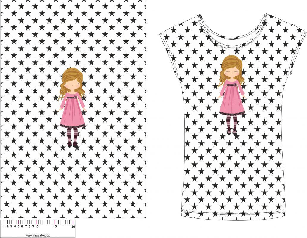 Panel na triko - zdišenky na bílé s hvězdičkami - panel k šití vyrobeno v EU
