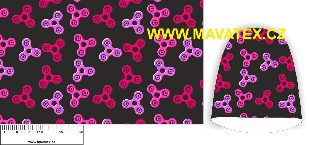 Panel na čepice SKEJŤAČKA - spinery černý s růžovými- my craft aplikace k našití Mavatex