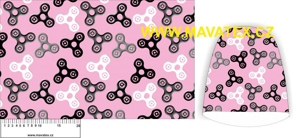 Panel na čepice SKEJŤAČKA - spinery růžový s šedými- my craft aplikace k našití Mavatex