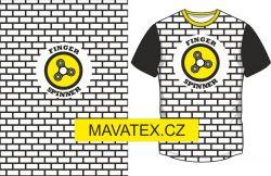 Panel na triko -bílý - černo-bílý obdelník + spiner