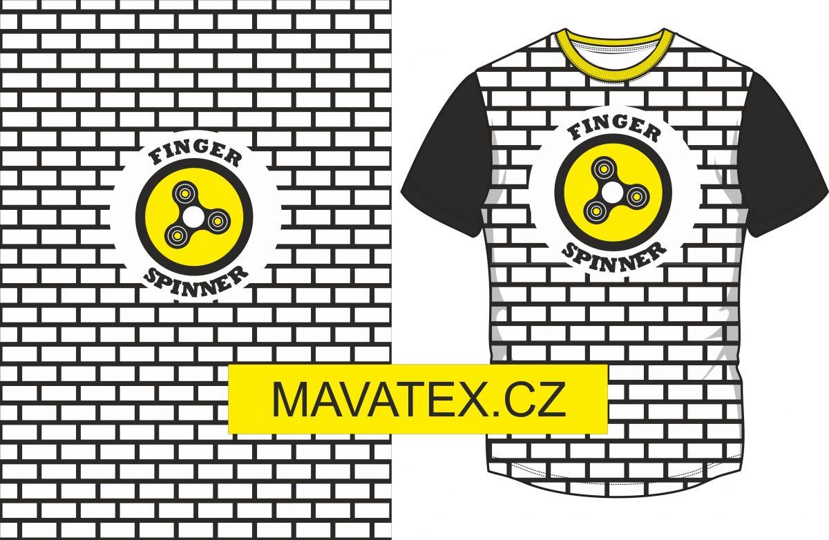 Panel na triko -bílý - černo-bílý obdelník + spiner - panel k šití vyrobeno v EU