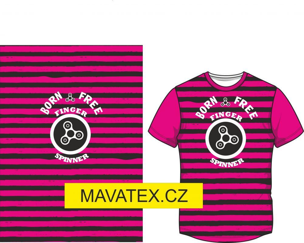 Panel na triko -růžový pruh+ spiner - panel k šití vyrobeno v EU