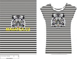 Panel na triko - tygr na černém pruhu