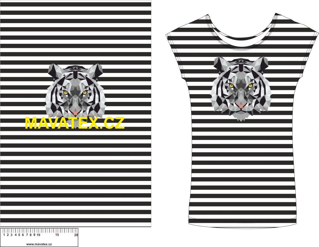Panel na triko - tygr na černém pruhu - panel k šití vyrobeno v EU
