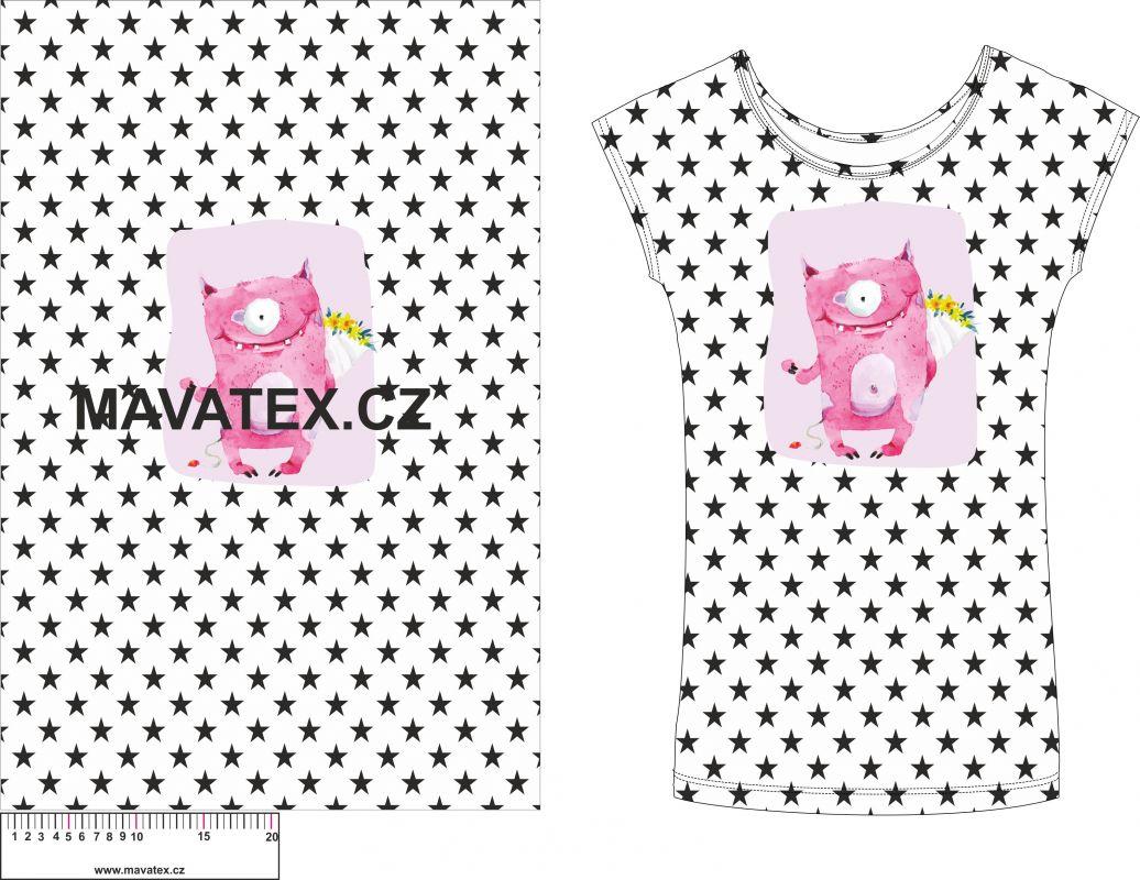 Panel na triko - růžová příšerka na hvězdičkách - panel k šití vyrobeno v EU