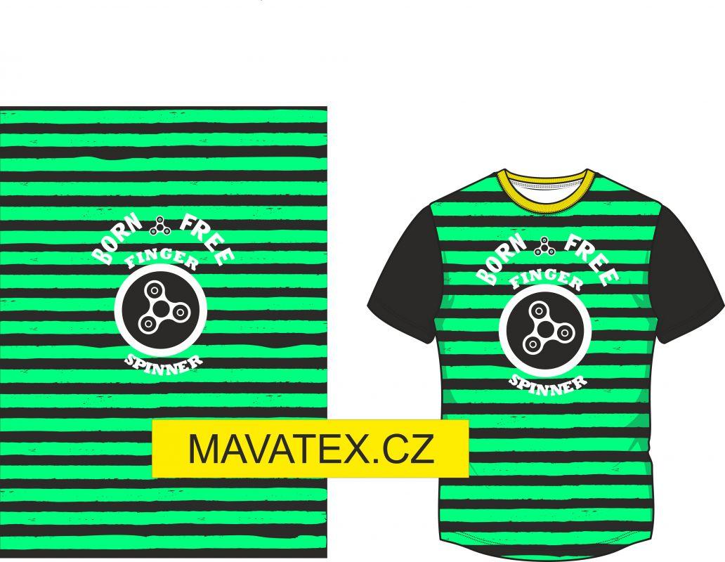 Panel na triko - zelený pruh+ spiner- panel k šití vyrobeno v EU