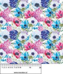 Panelový tisk -barevné květy na bílé- kepr