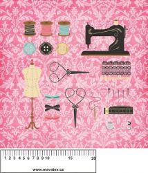 Panelový tisk - ŠICÍ stroj na růžové- kepr