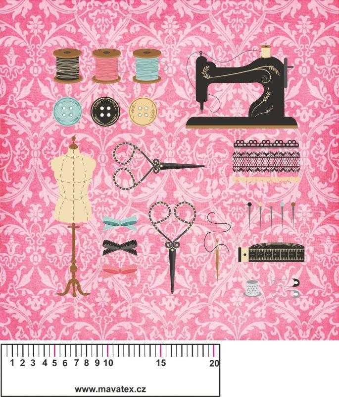 Panelový tisk - ŠICÍ stroj na růžové- kepr Tukan