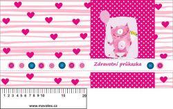 Zdravotní průkaz růžový s růžovou příšerkou- obrázky na látce, designový tisk, tisk na přání vyrobeno v EU- atest pro děti bavlna
