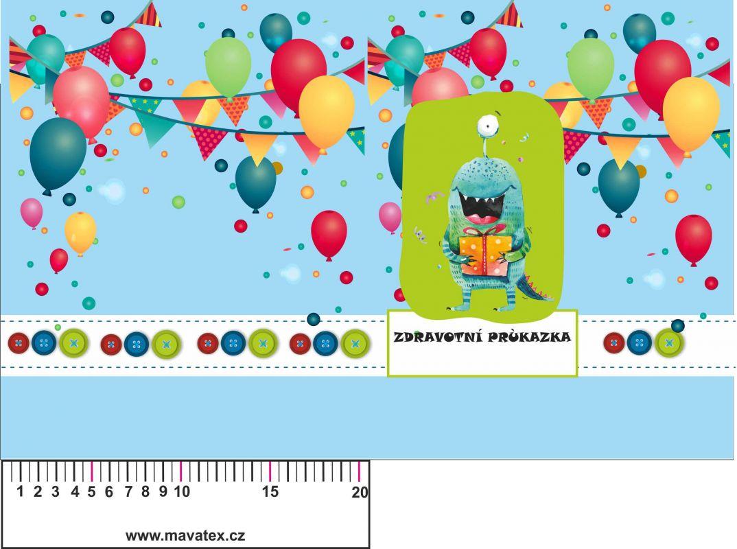 Zdravotní průkaz modrý příšerkou a balonky- obrázky na látce, designový tisk, tisk na přání vyrobeno v EU- atest pro děti bavlna