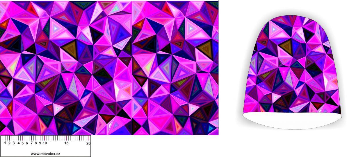 Panel na čepice SKEJŤAČKA - růžové trojúhelníky - my craft aplikace k našití Mavatex