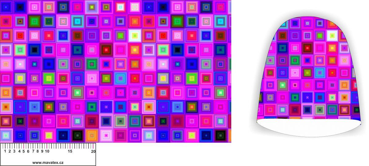 Panel na čepice SKEJŤAČKA - růžové kostičky - my craft aplikace k našití Mavatex