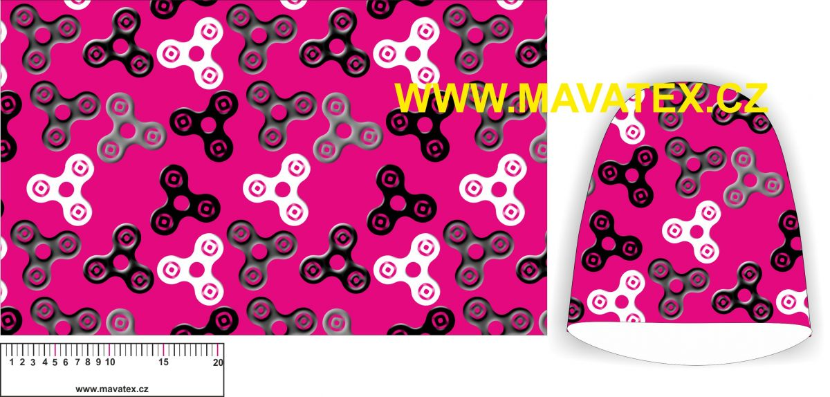 Panel na čepice SKEJŤAČKA - spinery černé na malinovém podkladu Mavatex