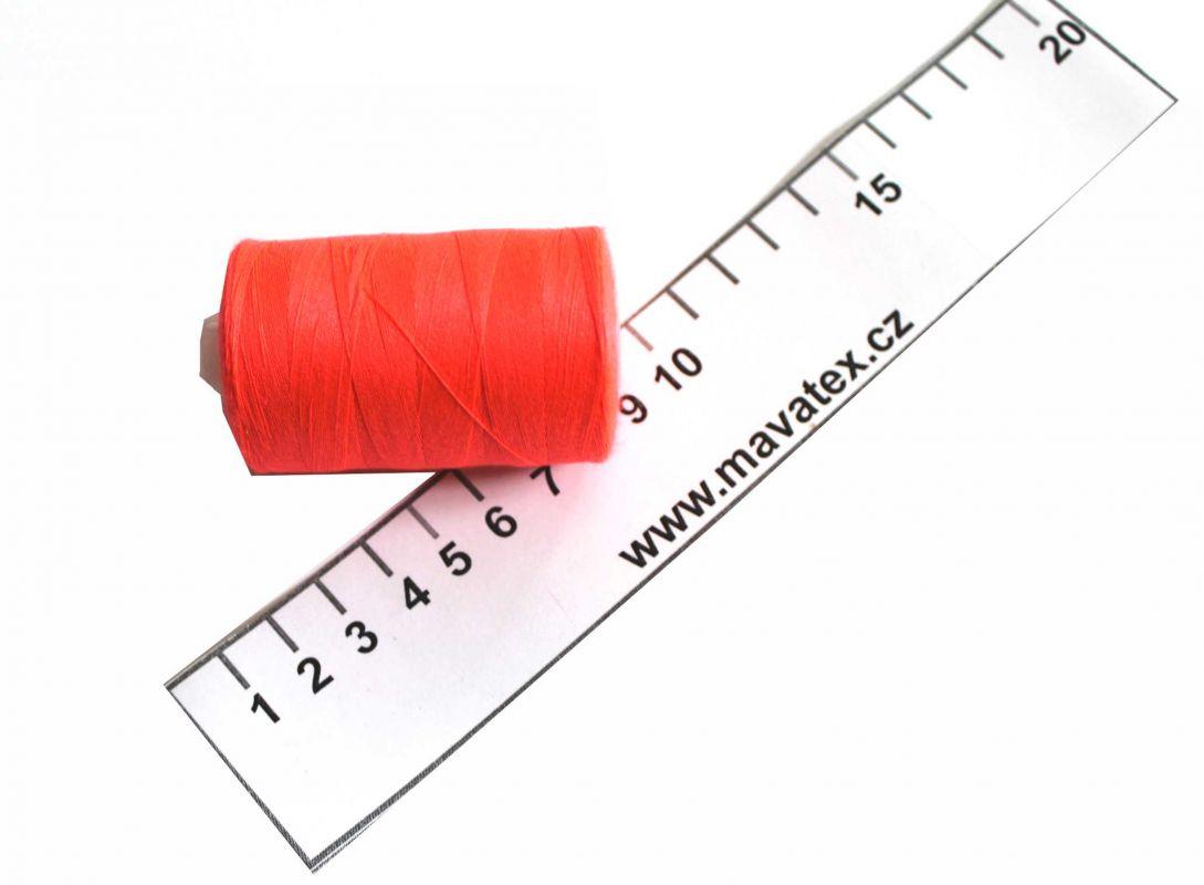 Nit svítivá oranžovo-růžová - 50/2 -1000 m- polyester , šicí nit , nit na šití vyrobeno v EU