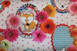 Bavlna s dětskými zvířátky a kytičkami – digální tisk