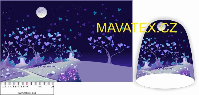 Panel na čepice SKEJŤAČKA - fialové noční mlýny vyrobeno v EU