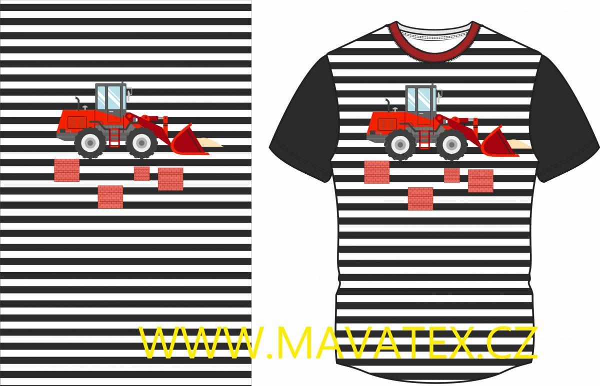 Panel na triko - černé pruhy a nakladač - panel k šití vyrobeno v EU