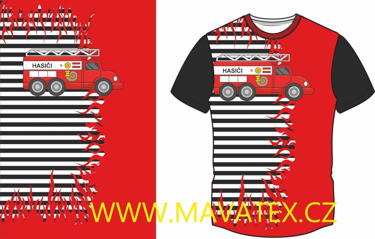 Panel na triko - černé pruhy hasiči - panel k šití vyrobeno v EU