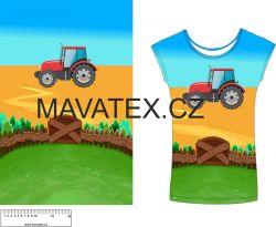 Panel na triko - traktor v poli