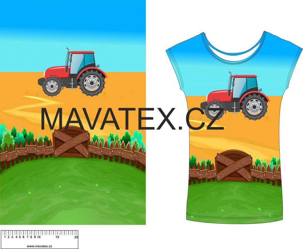 Panel na triko - traktor v poli- panel k šití vyrobeno v EU