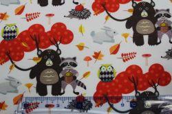 Teplákovina bílá kamarádi z lesa - digitální tisk- digitální tisk vyrobeno v EU- atest pro děti bavlna
